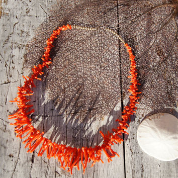 Native American Red Branch Coral Necklace