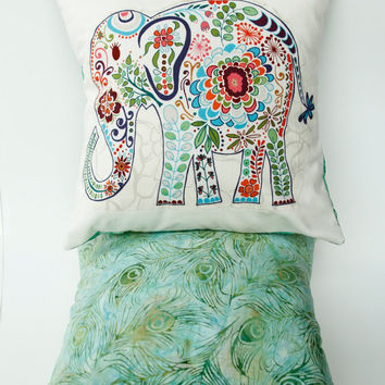 "Trunk Up Elephant Pillow- 12""x12"" Cover with blue elephant appliqué and sea green peacock feather batik backing"