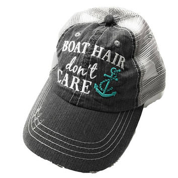Boat Hair Don't Care Adult Distressed Trucker Hat Anchor Custom Embroidered Trucker Hat  Girl Summer Hat  Women's Trucker Cap