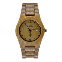 Men's Wooden Watch Natural Sandalwood Wrist Watch with Calendar Function