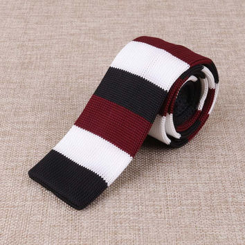 Black, Maroon and White Knitted Tie
