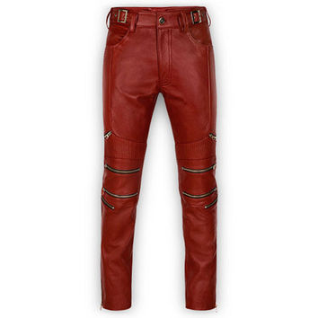 Mens Leather Jeans Multi Zipper Relaxed Fit Red Black Brown White