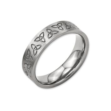 6mm Engraved Trinity Symbol Flat Band in Brushed Titanium