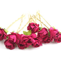 Bridal Hair Accessories, Pink  Rose, Fuchsia  flower Hair Bobby Pin, Brass Bobby pin- set 6