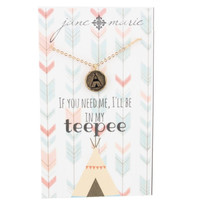 Gold Stamped Teepee Necklace by Jane Marie