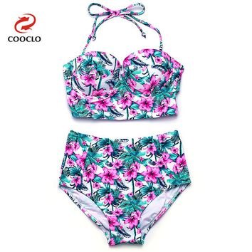 COOCLO Bikini 2018 Hot Sale High Waist Sexy Bikini Set Bandeau Top Floral Print Women Swimwear Vintage Swimsuit Bathing Suits