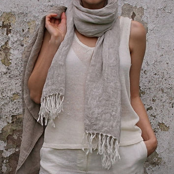 Handmade Linen Shawl With Hand Knotted Fringe Oatmeal