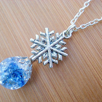 Snowflake Blue Crystal Crackle Glass Marble Necklace