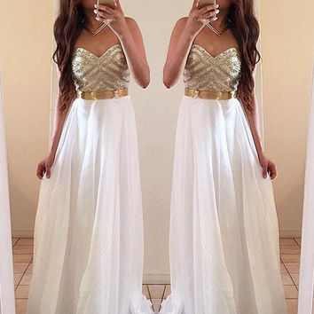 V-Neck High Waist Chiffon Dress