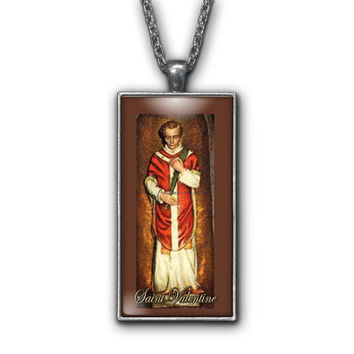 Saint Valentine Painting Religious Pendant Necklace Jewelry