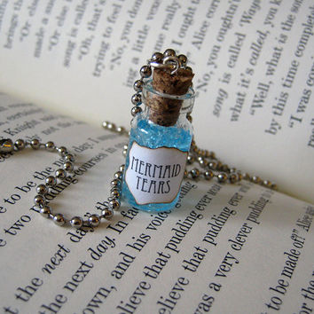 Mermaid Tears 1ml Glass Vial Bottle Necklace Pendant Charm - Sea Ocean Mermaids