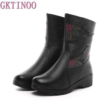 High Quality Women Genuine Leather Shoes Casual Ladies Martin Boots Winter Warm Flat Women's Boots Plush large size