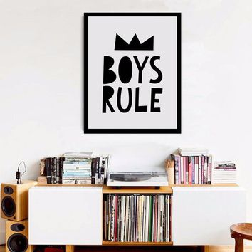 Black and White Nursery, Boys Rules Quote Modern Poster Canvas Printings Wall Canvas Art Boys Room Decor Nursery Print no frame