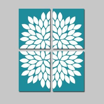 TEAL Wall Art, Floral Artwork, Teal Bedroom Pictures, Teal Bathroom Decor, Flower Petal Art, Set of 4, Canvas or Prints, Wall Decor Pictures