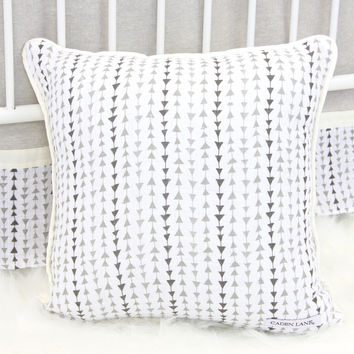 Square Pillow | Tomlin's Neutral Triangles Crib Bedding
