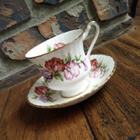 Antique Paragon sweet pea flowers tea cup and saucer, pink floral tea set, English bone china, wedding gift