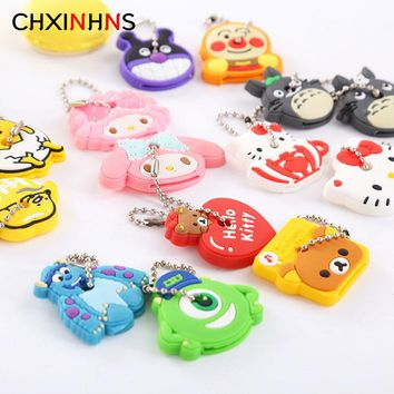 2pcs/set Cartoon Anime Keychain Key Cover Women Bag Funny Hello Kitty Totoro Silicone KeyChains Cute Animal Key Holder Caps Bag