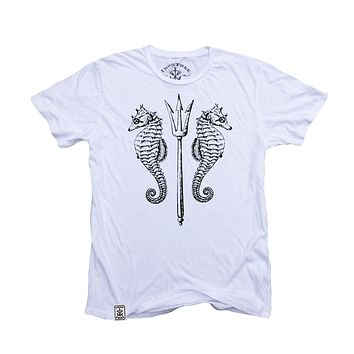 Seahorses & Trident: Organic Fine Jersey Short Sleeve T-Shirt in White