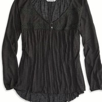 AEO Women's Lace Paneled Top