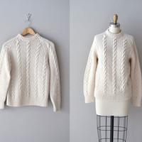 cable knit sweater / fisherman's sweater / cream sweater