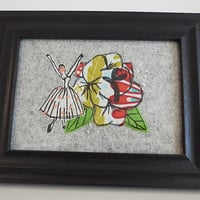 BALLET TEXTILES ART- free motion machine embroidery-classic dancer-emboridery framed work-sewing artwork-textiles picture-college textiles