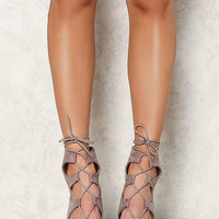 Taupe Suedette Lace Up Short Heels