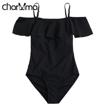 CHARMMA Swimsuit with Ruffles Off Shoulder Spaghetti Strap Swimsuit One Piece Swimwear Women Swim Bathing Suit One-Piece Suits