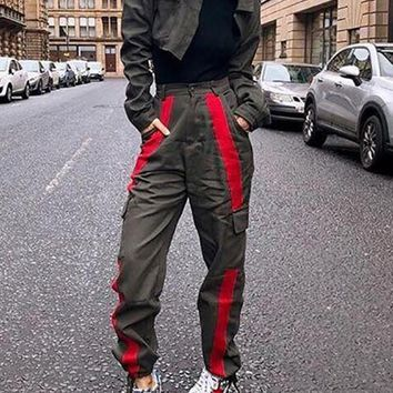 New Army Green Patchwork Pockets High Waisted Hippie Haren Casual Cargo Long Pants