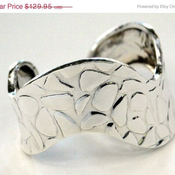 HUGE Sale Extra Wide Cuff Bracelet Vintage Taxco 925 Bracelet, 30.8 grams, Signed Numbered Animal Print Cuff RHONJ Syle
