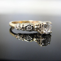 1940s Two Tone Engagement Ring with Floral Shoulders RGDI1078