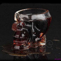 Free shipping Hot Sale Skull Head Crystal Glass Vodka Whiskey Shot Cup Drinking Ware Home Bar 75ml
