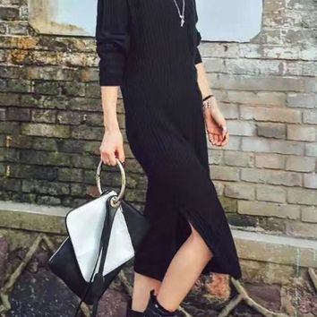 Black Plain Slit Side High Neck Maxi Dress