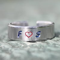 Personalized Love Ring, Lovers Initials Ring, Initial Heart Ring, Valentine's Girlfriend Gift, Sister Best Friends Ring, Custom Initials