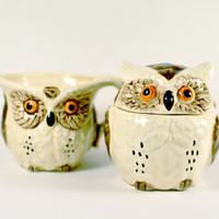 Vintage Owl Cream and Sugar Set Made in by LilytheDogVintage