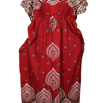 Mogul Womens Caftan House Dress Red Printed Cotton Kimono Evening Maxi Kaftan