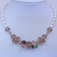 Natural Baroque Pearl Necklace with Champagne Swarovski Crystal Beads - Cream, Tan, Green, Rose