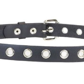"1-Row 1"" Silver Eyelet Grommet Black Leather Belt 1-1/4"" Wide"