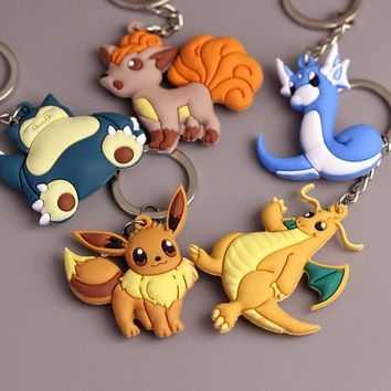 3D Pokemon Go Game Eevee Dragonite Vulpix Snorlax Dratini Key Chain & Key Ring Holder Keyring Porte clef Gift Men Women