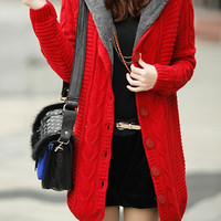 Red Long Sleeves Hooded Button Down Cardigan