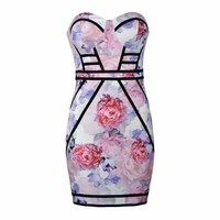 PEONY PRINT CONTRAST PANELLED BANDEAU DRESS