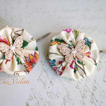 Yoyo Hair clips French Fabric Flower Hair Pin Ecru Hair Pins Butterfly Bobby Pins Bridal Hair Accessories Floral Clips Wedding Hair Piece