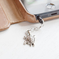 iPhone Charm Dust Plug 3.5mm,Turtle iPhone Charm,Silver Tortoise Charm Plug,Accessory,head phone plug,kawaii,dust proof,smart phone pluggy