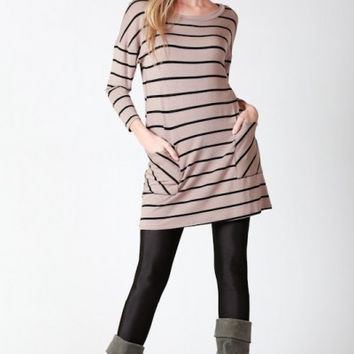 Classic Striped Button Back Tunic - Taupe