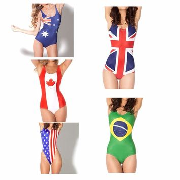 One Piece Swimsuit Swimwear Bathing Suit England, American, Brazilian, Canadian Flags