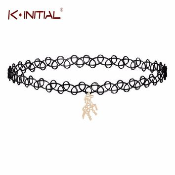 Kinitial 1Pcs 2017 Female Fashion Unicorn Horse Neck Show Punk Jewelry Unicorn Dangle Collar Chocker Necklaces for Women Gift