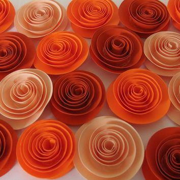 "Fall Wedding flowers Shades of Orange Thanksgiving Dinner centerpiece Ideas, set of 24 roses, 1.5"" blooms, autumn colors"