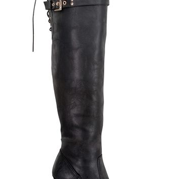 BLACK CRINKLE FAUX LEATHER OVER THE KNEE BOOTS
