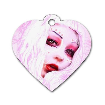 Heart dog tag pink day of the dead girl
