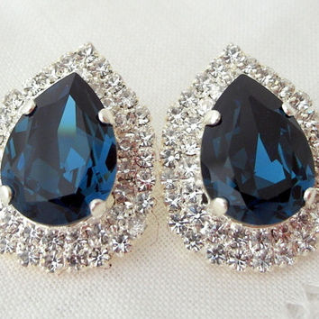Blue Extra Large Teardop Swarovski Crystal Stud Earrings Bridal