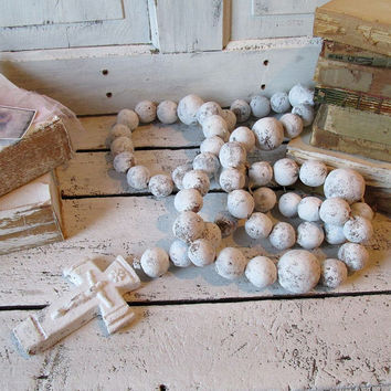 Huge rosary wall hanging French Nordic white distressed clay stone large crucifix w/ clay beads home decor anita spero design